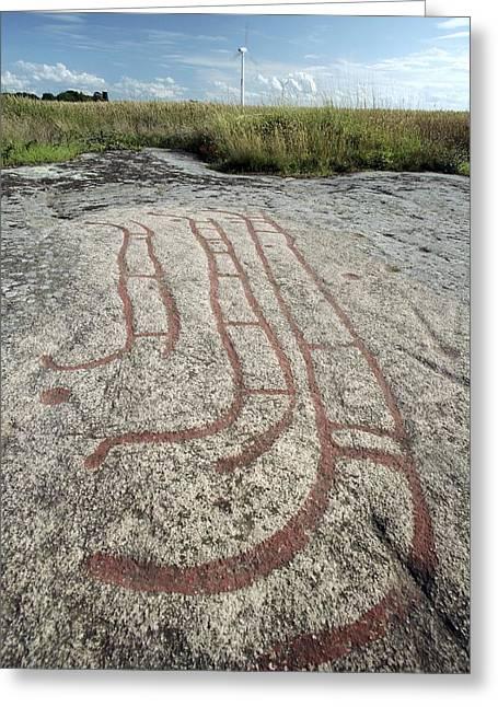 Bronze Age Petroglyph Greeting Card by Bjorn Svensson