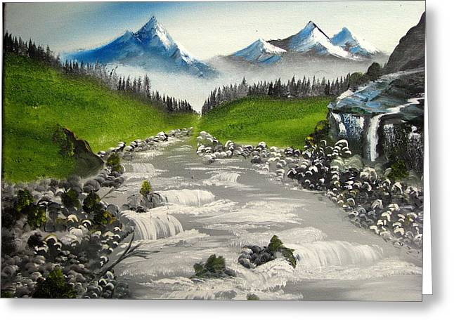 Brook In The Misty Mountains Greeting Card