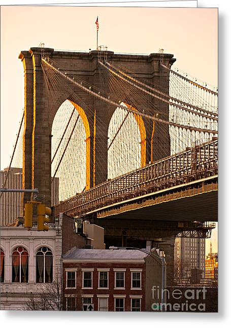 Greeting Card featuring the photograph Brooklyn Bridge - New York by Luciano Mortula