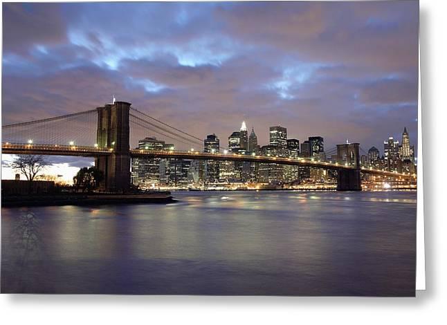Brooklyn Bridge And Lower Manhattan Greeting Card by Axiom Photographic