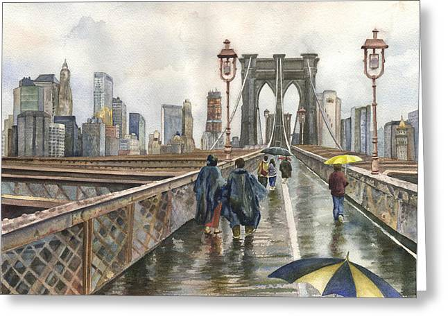 Brooklyn Bridge Greeting Card by Anne Gifford