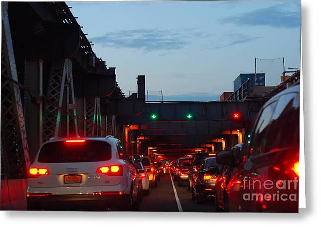 Brooklyn Bridge At Night Greeting Card by Andrea Simon