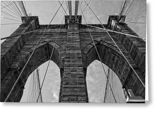 Brooklyn Bridge Bw Greeting Card