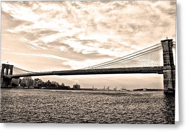 Brooklyn Bridge In Sepia Greeting Card by Bill Cannon