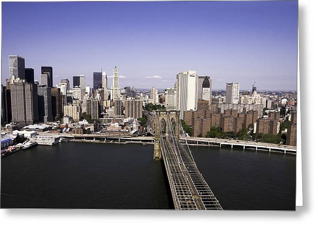 Brooklyn Bridge Greeting Card by Paul Plaine