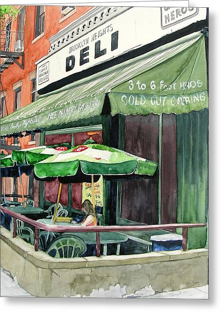 Greeting Card featuring the painting Brooklyn Heights Deli by Tom Riggs