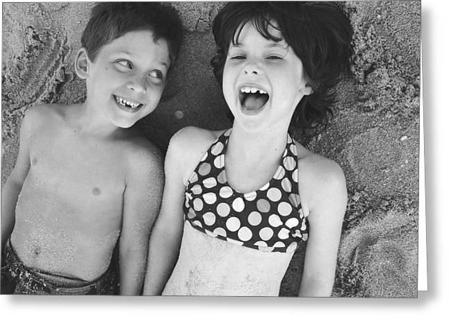 Brother And Sister On Beach Greeting Card