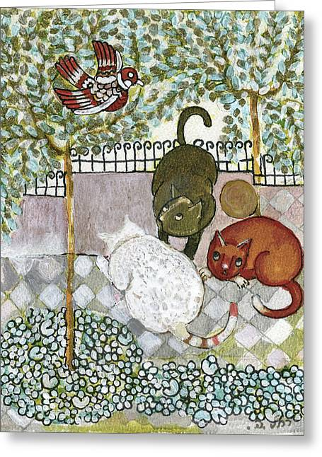 Brown And White Alley Cats Consider Catching A Bird In The Green Garden Greeting Card