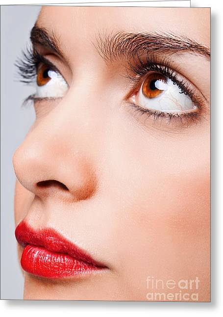 Brown Eyes And Red Lips Greeting Card by Richard Thomas