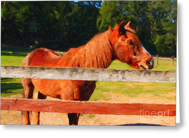 Brown Horse Behind Fence . Painterly Greeting Card by Wingsdomain Art and Photography