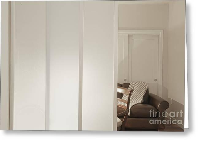 Brown Leather Sofa Seen Through Open Door Greeting Card by Andersen Ross