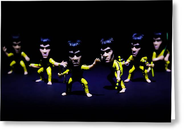 Bruce Lee - Stances  Greeting Card by Ian Hufton