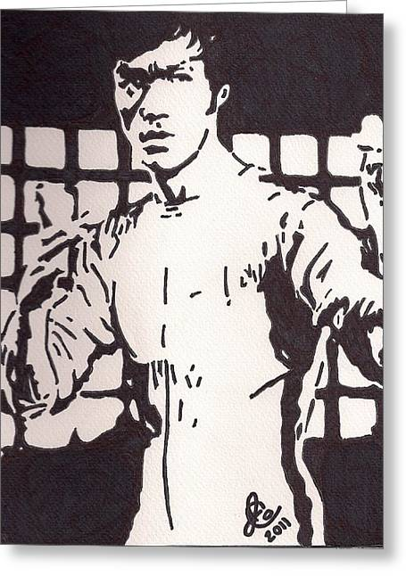 Bruce Lee Greeting Card by Jeremiah Colley