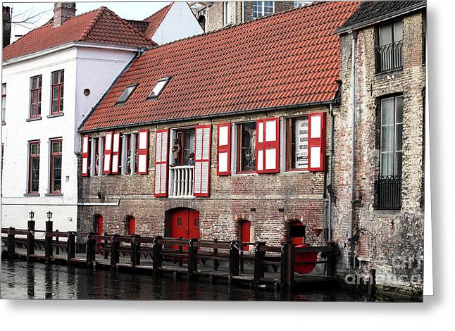 Bruges Canal Scene Iv Greeting Card by John Rizzuto