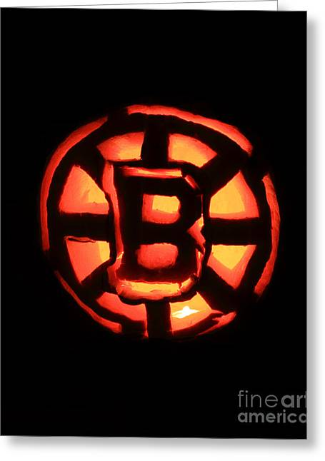 Bruins Carved Pumpkin Greeting Card by Lloyd Alexander