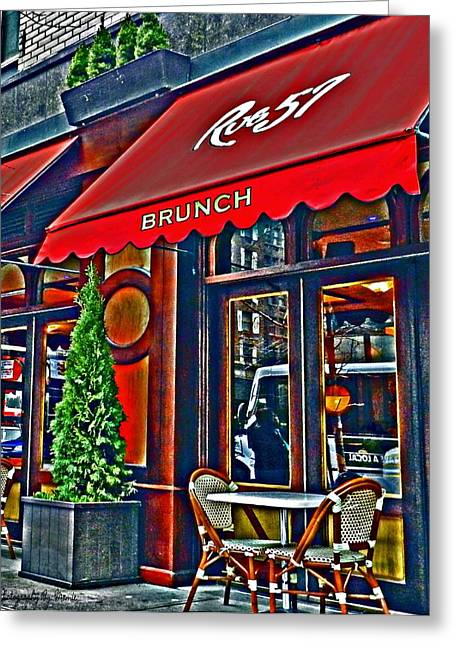 Brunch At The Cafe' Greeting Card by Mamie Thornbrue