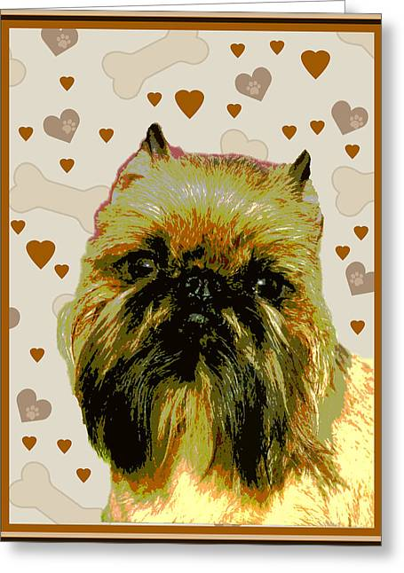 Brussels Griffen Greeting Card by One Rude Dawg Orcutt