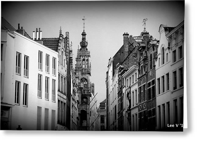 Brussels In Black And White Greeting Card by Lee Versluis