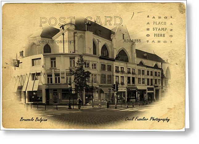 Brussels Street Corner Greeting Card by Cecil Fuselier