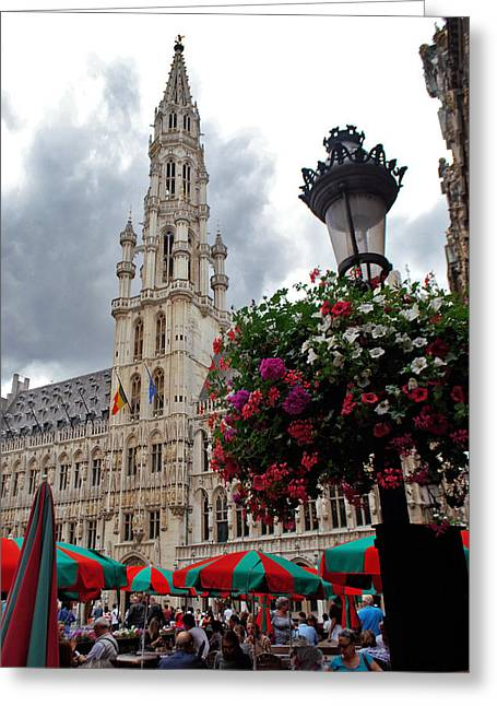 Brussels Town Hall And Cafe In The Grand Place Market Square Belgium Greeting Card by Jeff Rose