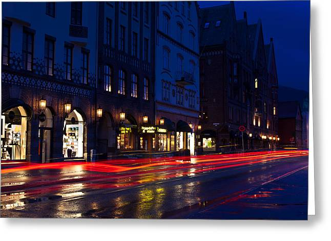 Bryggen Lights Greeting Card by A A