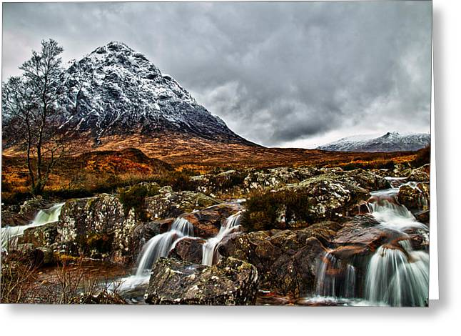 Buachaille Etive Mor With Waterfalls Greeting Card by Fiona Messenger