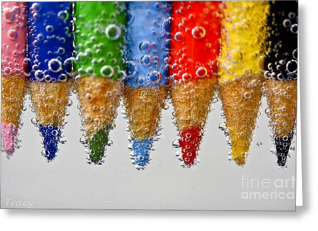 Bubble Pencils Greeting Card by Tracy  Hall