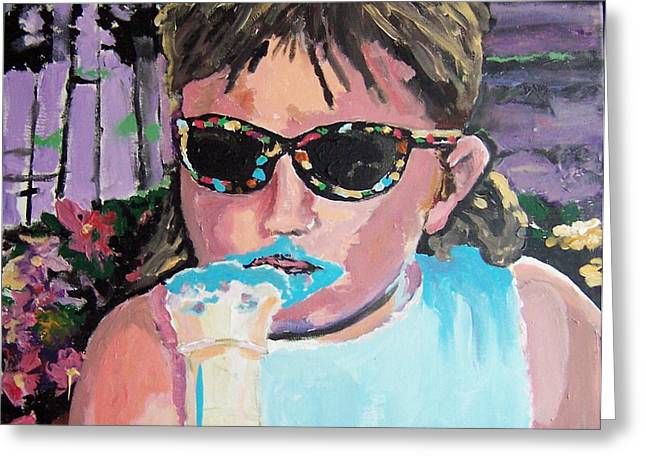 Greeting Card featuring the painting Bubblegum Ice Cream by Krista Ouellette