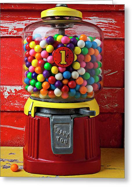 Bubblegum Machine And Gum Greeting Card