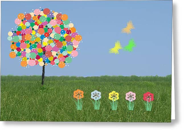 Bubblegum Tree Greeting Card by Rosalie Scanlon
