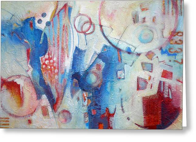 Bubbling Up - Abstract In Blues Greeting Card