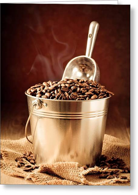 Bucket Of Coffee Beans Greeting Card by Amanda Elwell
