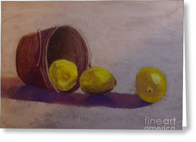 Bucket Of Lemons Greeting Card by Calliope Thomas