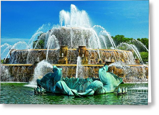 Buckingham Fountain - Chicago Greeting Card by JH Photo Service