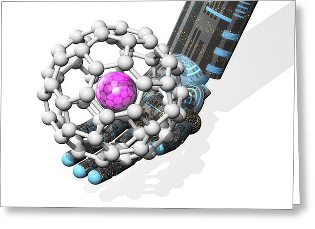 Buckyball Molecule, Computer Artwork Greeting Card by Laguna Design