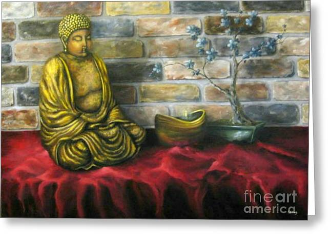 Buddha And Candle Greeting Card