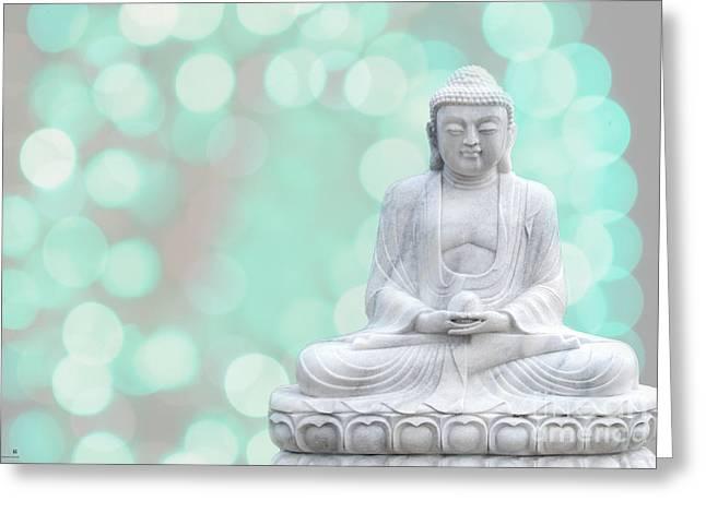 Buddha  Enlightment  Green Greeting Card by Hannes Cmarits