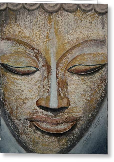 Buddha Face Greeting Card by Teresa Beyer