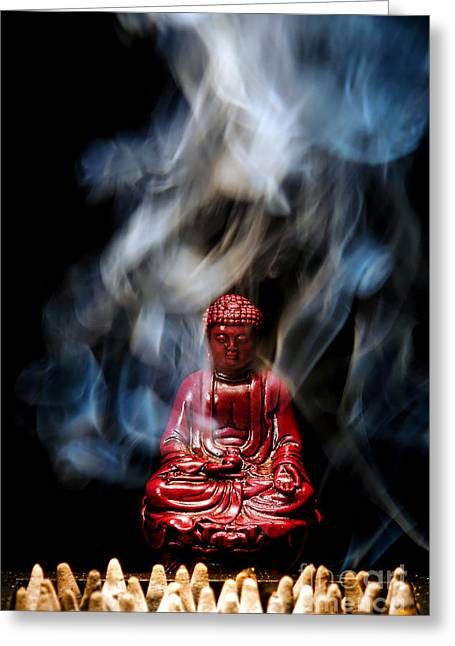 Buddha In Smoke Greeting Card by Olivier Le Queinec