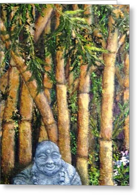 Buddha In The Bamboo Garden Greeting Card by Annie St Martin