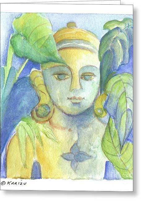 Buddha Greeting Card by Karin Zukowski