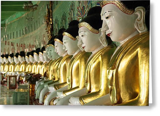 Buddha Row Greeting Card by Nina Papiorek