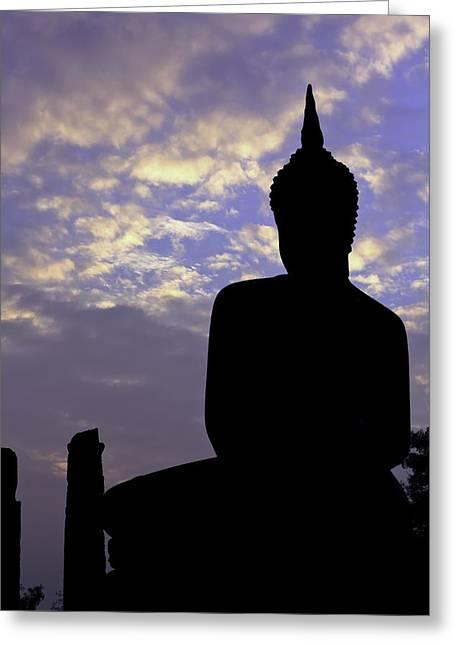 Buddha Silhouette Greeting Card by Thomas  von Aesch