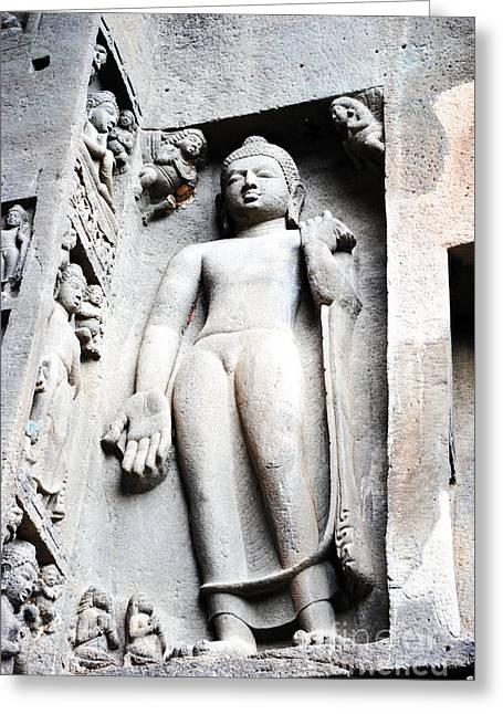 Buddha Statue At Ajanta Caves India Greeting Card