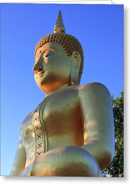 Buddha With Sunset Greeting Card by Thomas  von Aesch