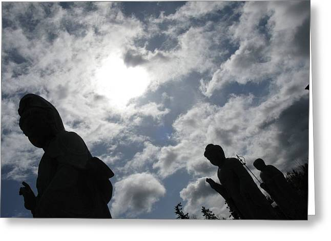 Greeting Card featuring the photograph Buddhas Eclipsed By The Sun by Brian Sereda