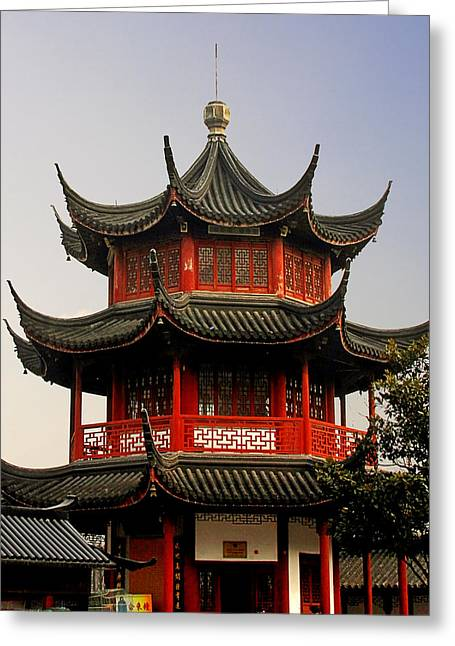 Buddhist Pagoda - Shanghai China Greeting Card by Christine Till