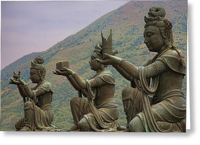 Buddhistic Statues Greeting Card by Karen Walzer