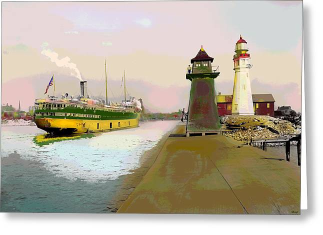 Buffalo Harbor Lighthouse Greeting Card by Charles Shoup