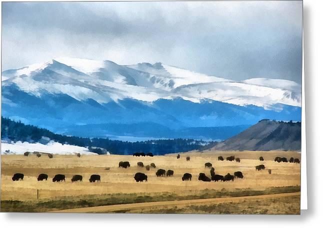 Buffalo Herd Painterly Greeting Card by Ernie Echols